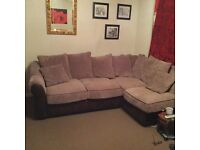 Mink corner sofa and footstool