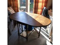 Dining Table Vintage Drop Leaf Oak Solid Wood - London