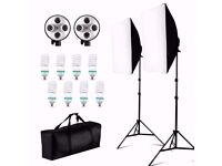 Softbox Lighting Kit: 2xLamp, 8xBulbs, 2xLight heads, 2xLight stand + heavy duty bag