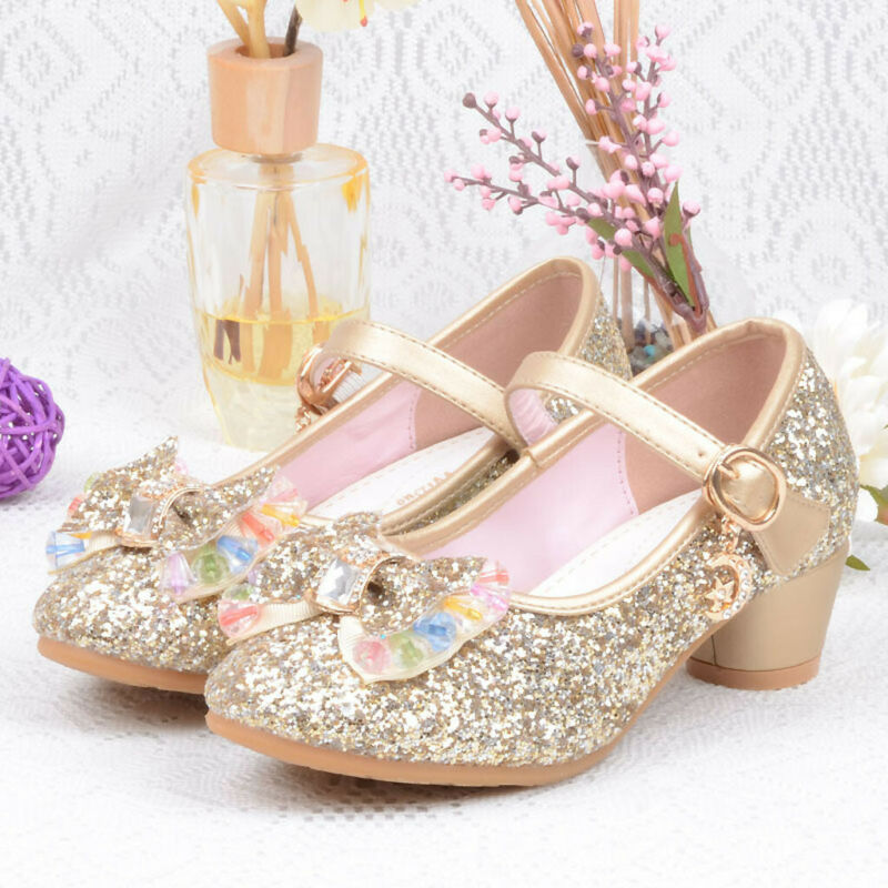 CA Toddler Kids Baby Girls Princess Shoes High Heels Bowknot Dress Party Shoes