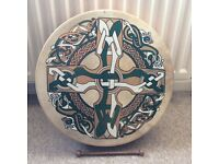 Bodhran 18 inch ,Celtic cross disign.Hand crafted.