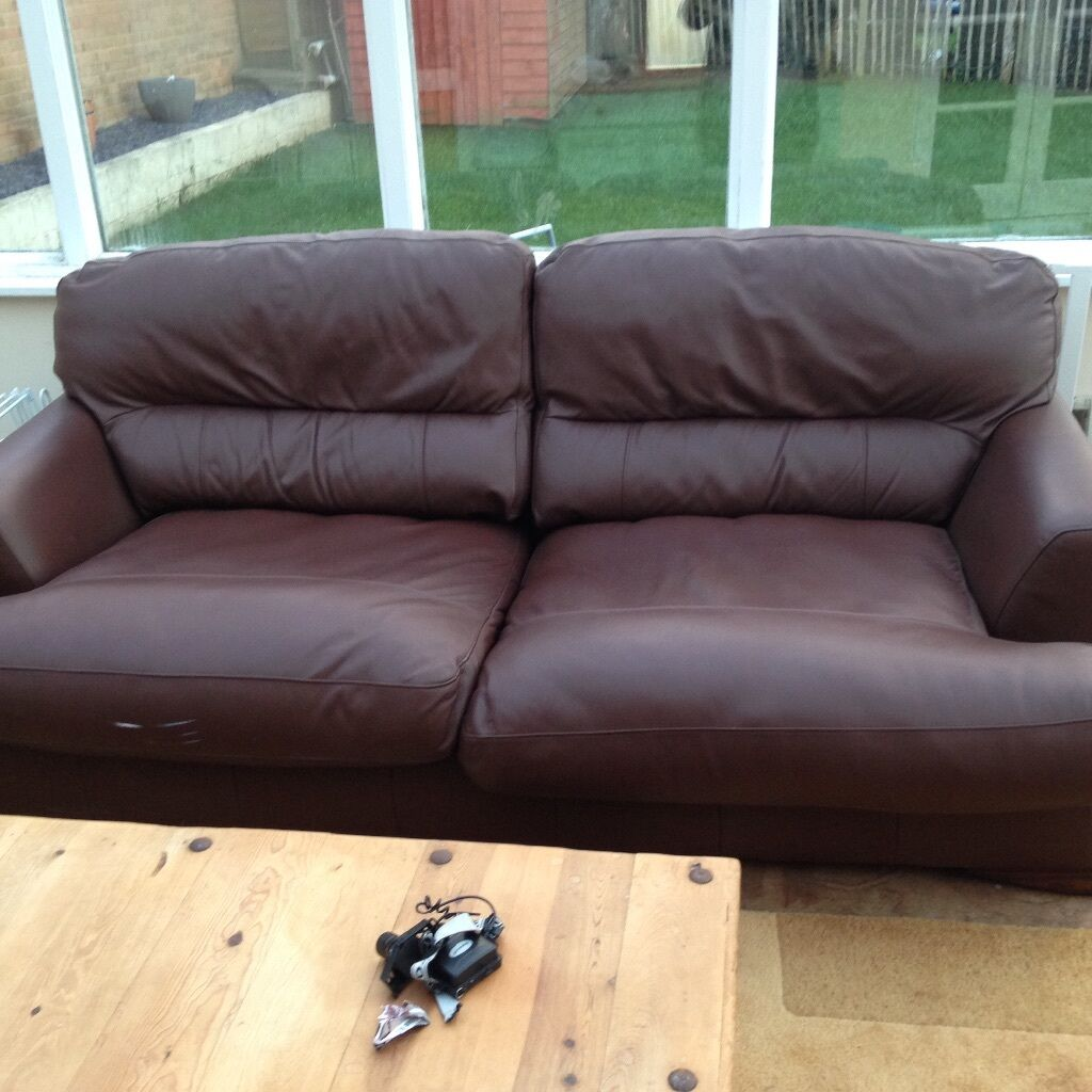 Leather Sofa Bed Spring Mechanism Vgc Bargain At 50