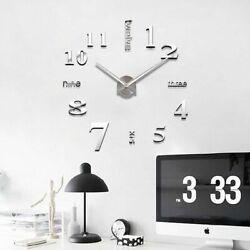 USA DIY Large Wall Clock 3D Mirror Surface Sticker Big Number Watch Decor Silver