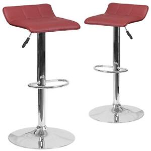 New Flash Furniture 2-Pack Burgundy Vinyl Adjustable Height Barstool with Chrome Base, PICKUP ONLY - PU8