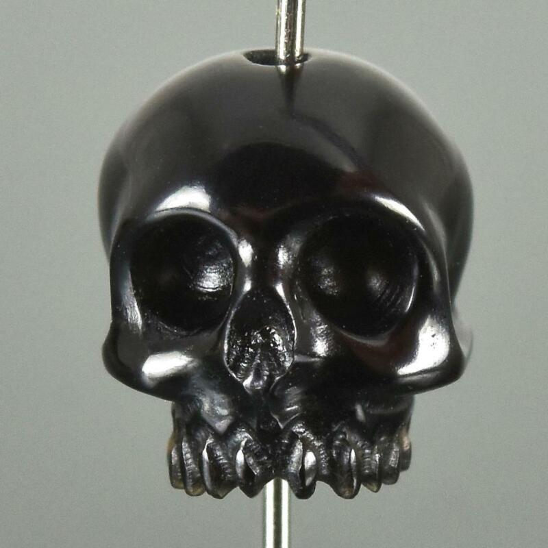 Human Skull Genuine Meteor Tektite Bead 11.31 mm Carving Vertically-drill 1.30 g