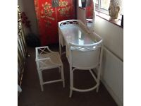 White Rattan Dressing Table with attached Mirror, and matching Stool