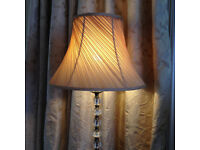 Brass based Standard Lamp with large gold shade and matching Table Lamp