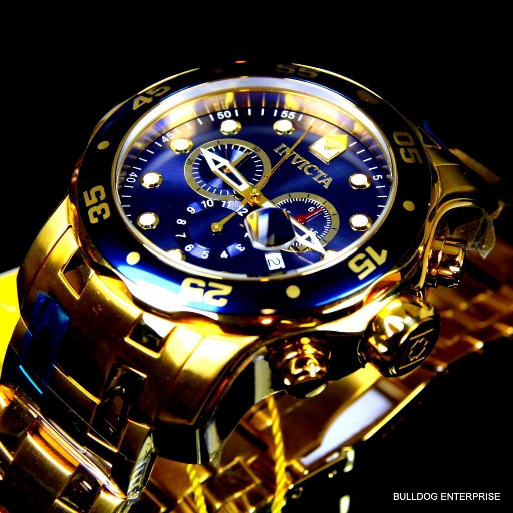 $119.99 - Invicta Pro Diver Scuba Gold Plated Steel Chronograph Blue Swiss Parts Watch New