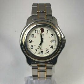 Vintage Very Rare Swiss Army Mens Officers Two Tone Stainless Steel
