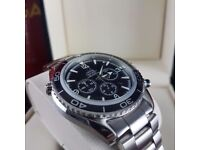 New Silver Black Omega Seamaster Bkack Face Black Bezel Comes Omega Bagged and Boxed with Paperwork