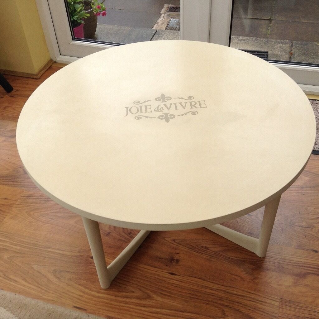SHABBY CHIC CHALK PAINTED COFFEE TABLEWAXEDin Bangor, County DownGumtree - SHABBY CHIC COFFEE TABLE CHALK PAINTED IN ANNIE SLOAN OLD OCHRE AND STENCILED SUPERB CLASSIC STYLE QUALITY ITEM SIZE 84 cms DIAMETER ....45 cms HIGH
