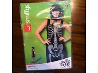Smiffys Halloween Ladies Skeleton Costume Size S UK 8 Fancy Shift Dress Party Outfit Glitter Bones