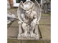 Large stone garden gargoyle statue, fantastic detail. New