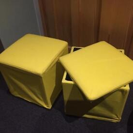 2x Ikea footstool yellow storage box - bosnas