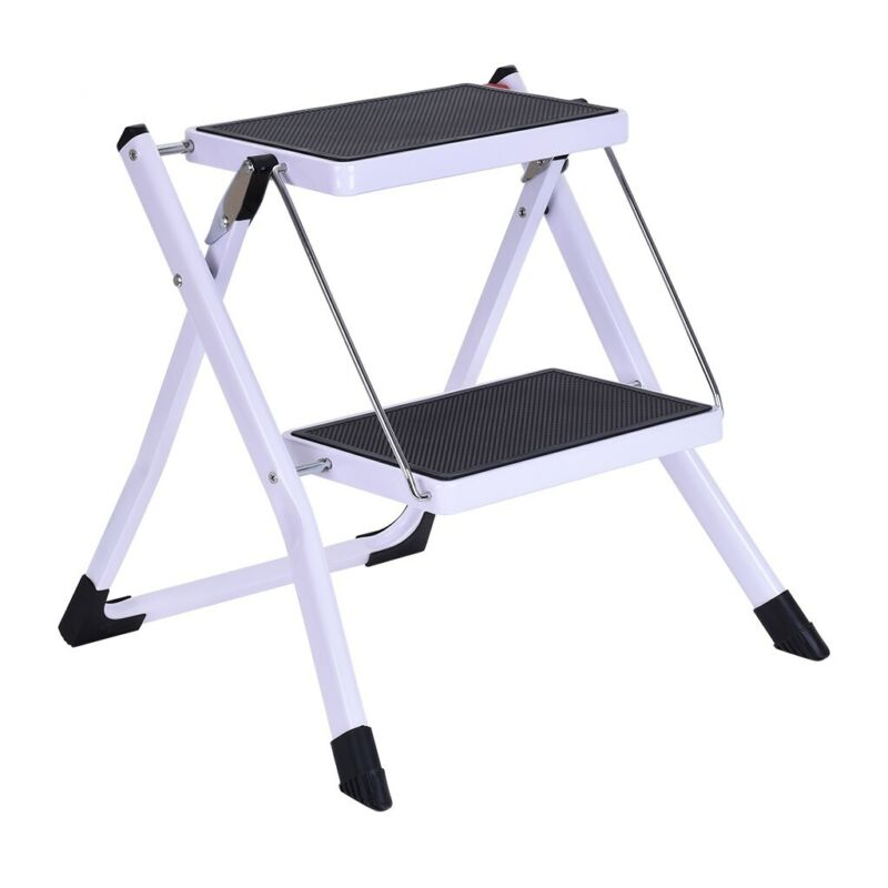 2nd Stage Folding Step Stool Steel Ladder With Handle Anti-s