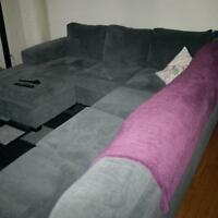 Comfortable dark grey sectional for sale only 1 yrs old