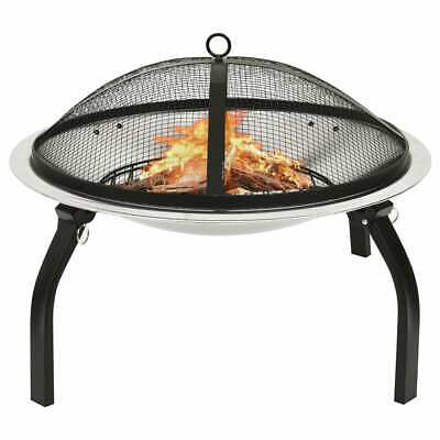 vidaXL 2-in-1 Fire Pit and BBQ with Poker Stainless Steel Fireplace Patio
