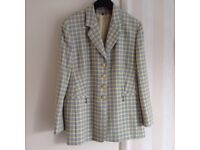 Fully lined yellow and pale blue checked ladies jacket size 14, made in Germany, excellent condition