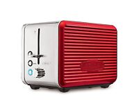 Bella Linea 2 Slice Red Toaster with Extra Wide Slots