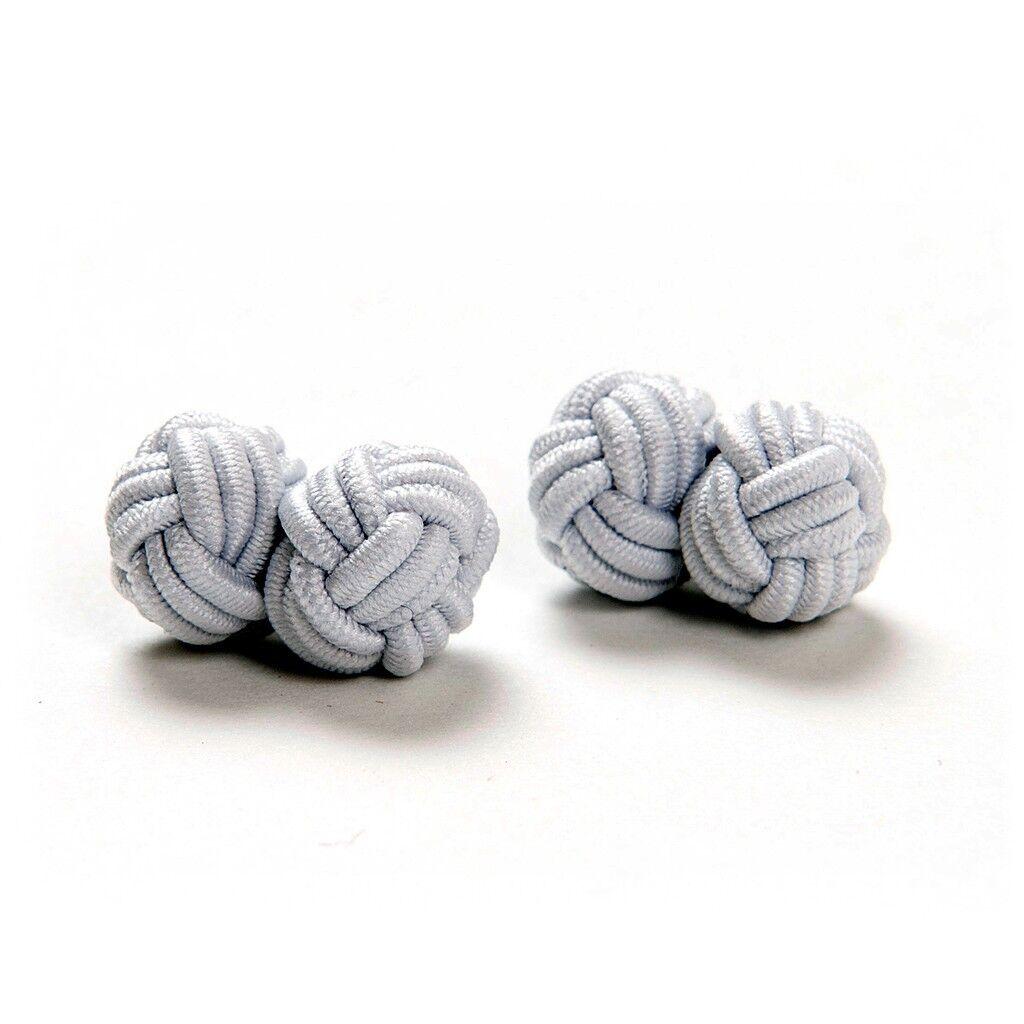 Paar weiße Seidenknoten Manschettenknöpfe Seidenknötchen Cufflinks Smoking