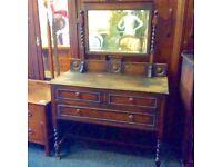 Reduced vintage oak dressing table