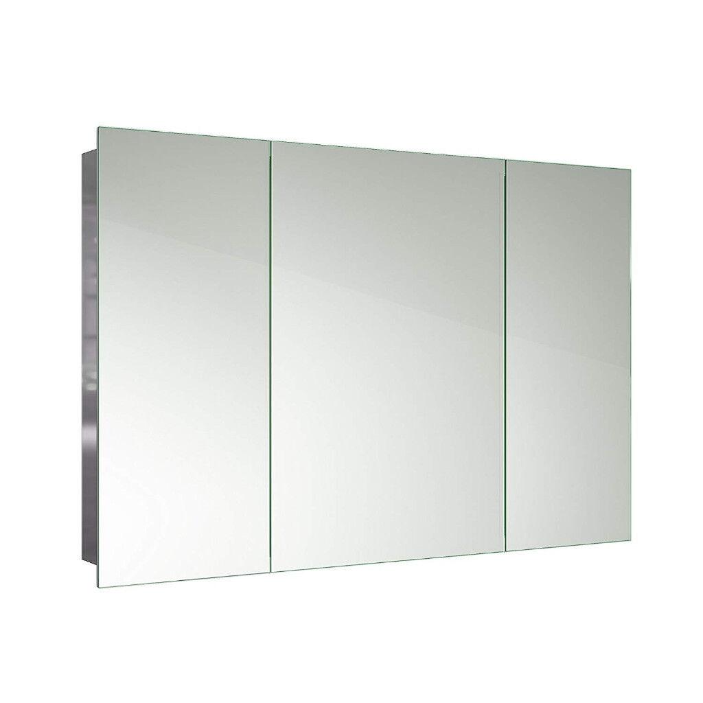 600 x 900 stainless steel bathroom mirror cabinet triple door storage unit