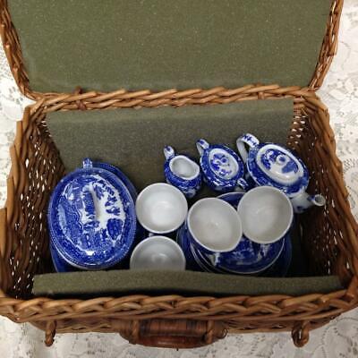 Vintage, Hecho en Japón Azul Sauce 20pc de Niño Juego Té con...
