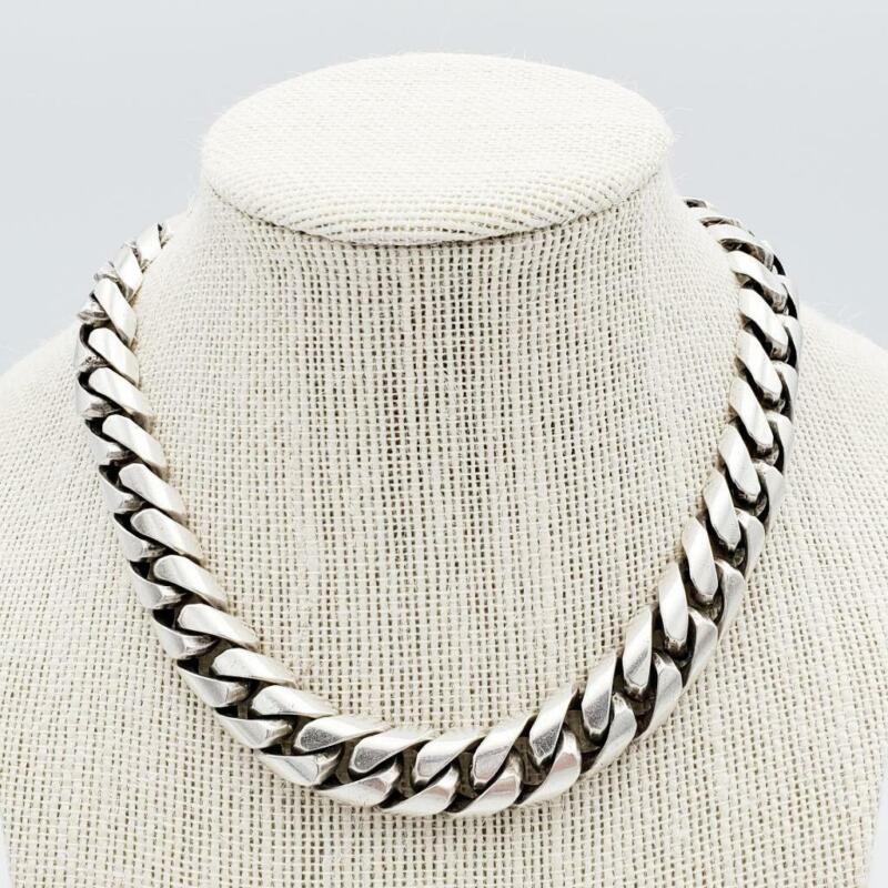 """HEAVY Vintage Mexican Sterling 15"""" Curb Chain Necklace"""