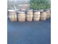 Oak whiskey barrels for garden patio pub bar wedding party