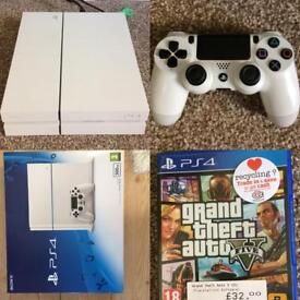 Boxed Ps4 white console 500 and GTA 5 game