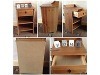 pine effect bedside telephone table small with small drawer and shelves (1)