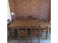 Reclaimed antique pine 6 seater dining table & 6 chairs less than a year old