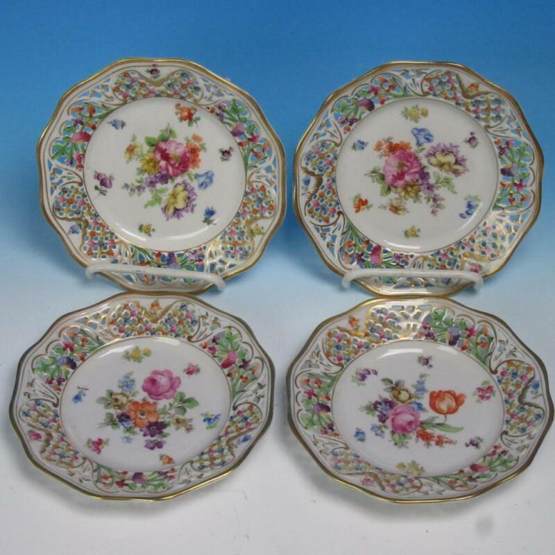 "Bavaria Schumann Dresden - Dresden Flowers - 4 Reticulated Bread Plates - 6¼"""