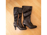 Russell & Bromley black leather knee boots high heel