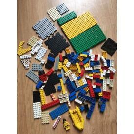 Lego building bricks, plates, boat & mini figure