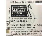 2 x standing DEF LEPPARD tickets at Royal Albert Hall Sun 25 March 2018