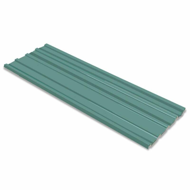 Roof Panels 12 pcs Galvanized Steel Green