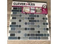 CLEVER TILES X 20 **FREE P&P** mosaic self-adhesive silver / grey / blue stick on stickers
