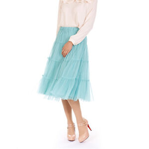 Womens-Ladies-Lovely-Tulle-Mesh-Elastic-Waist-Tiered-Long-Tutu-Skirt