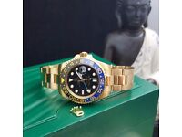 New boxed & bagged gold strap black face black & blue besel rolex gmt master 2