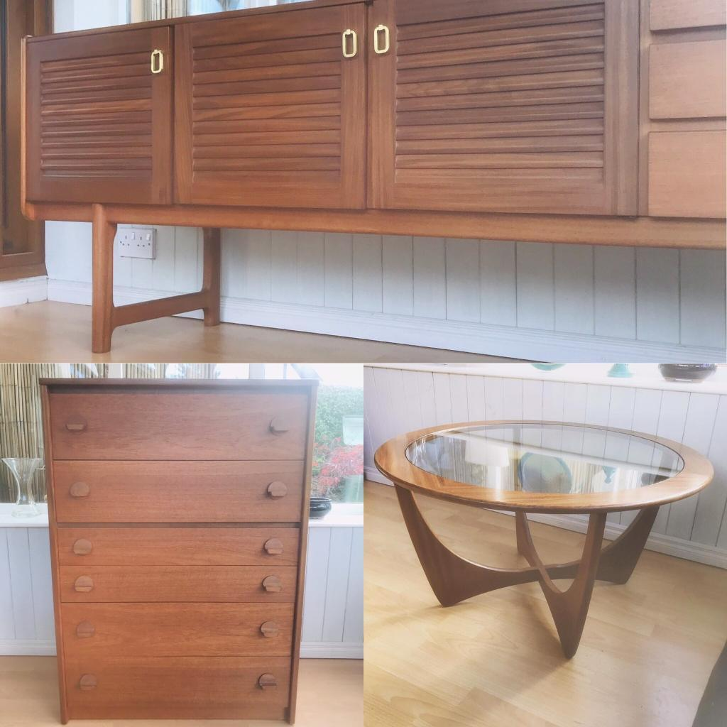Mid Century Retro Vintage Furniture Teal Drawers Sideboard Coffee Table