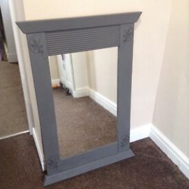 Bedroom mirror in grey with shabby chic fairy detail