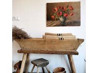 Beautiful rustic wooden bath, Dough bowl planter vintage decor
