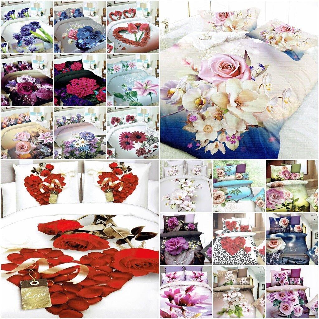 4 tlg Bettwäsche 155X200 200X220 Kissenbezüge Garnitur Blumen Herz 3D Ehebett