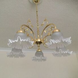 Solid brass ceiling light fitting with 5 glass shades and a matching 2 light side lamp