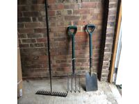 SPADE, RAKE, FORK FOR SALE. £15 All in. No offers.