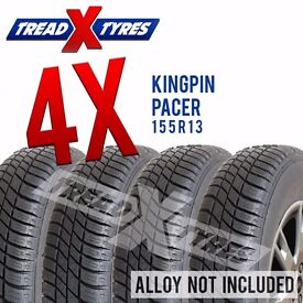 4 x New 155R13 Kingpin Pacer Tyre - 155 80 13 - Fitting Available