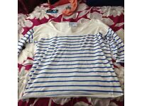 Ladies blue n white top