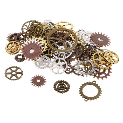 100g Assorted Color Alloy Gear Pendant Charms for Jewelry Ma