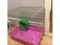 Two Floored Hamster Cage (+feeder and wheel)